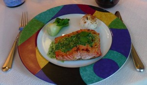 Spicy Salmon with Coconut Watercress Sauce