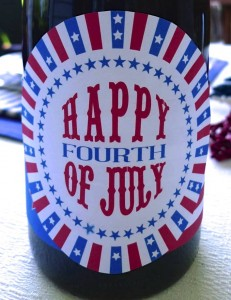 Fourth of July Wine Bottle Label