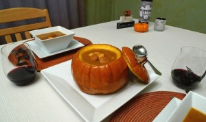 Creole Pumpkin Soup in a Roasted Pumpkin