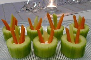 Cucumber Cups with Crudités and Dip