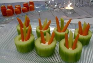 Cucumber Cups with Crudités and Dip