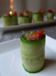 Cucumber Rolls with Shrimp and Finger Limes